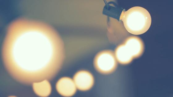 close up string of vintage lights