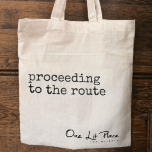 One Lit Place proceeding to the route tote bag