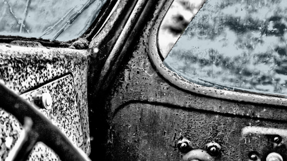 rusted vintage car interior