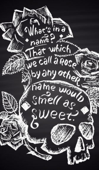 Black and white chalk drawing of roses and skull tattoo with Shakespeare quote