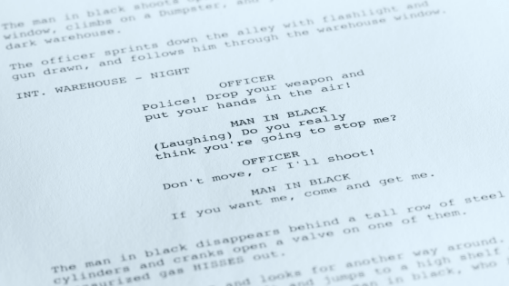 close-up of screenplay page