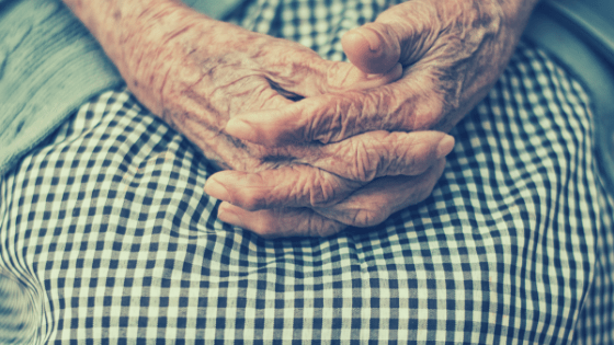 elderly woman's hands cupped in lap over gingham skirt