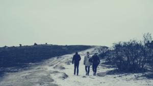 three friends walking on lonely beach road