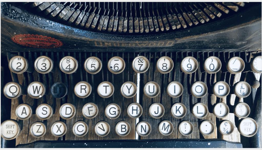 close up antique typewriter keys