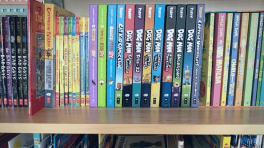 kids books on shelf